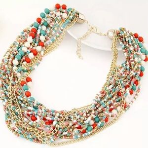 🆕 Colorful Beaded Bohemian Statement Necklace